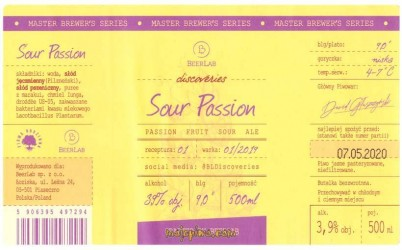 Browar Beerlab. Sour Passion. Passion Fruit Sour ALE (2019)